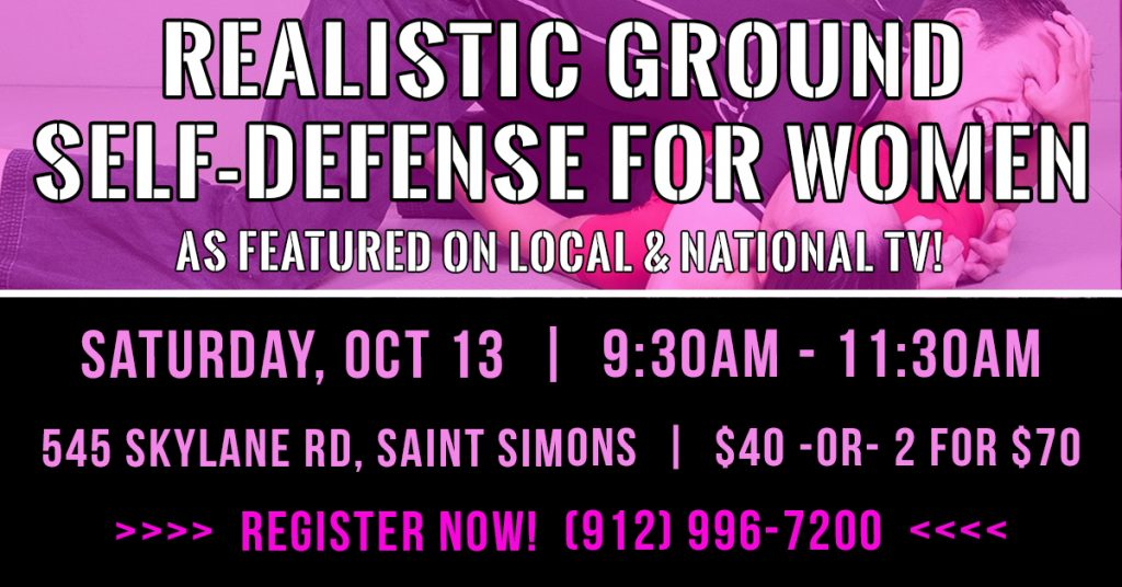 New Workshop: Realistic Ground Self-Defense for Women flyer | © 2018 Charlie Moore Training - www.charliemooretraining.com