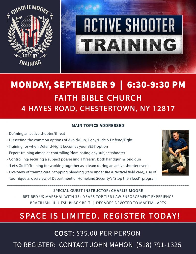 Active Shooter Response Workshop on 9/9/19 at Faith Bible Church in Chestertown, New York - Charlie Moore Training www.charliemooretraining.com