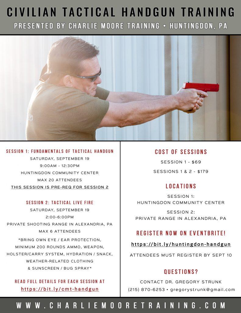 Huntingdon Civilian Handgun Training on September 19, 2020 - Charlie Moore Training www.charliemooretraining.com