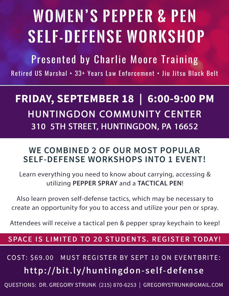 Women's Pepper Spray and Tactical Pen Self Defense Workshop - Charlie Moore Training - Women's Self Defense
