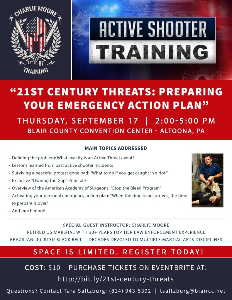 Flyer for 21st Century Threats: Preparing Your Emergency Action Plan - Blair Convention Center in Altoona, PA on September 17, 2020 - Charlie Moore Training