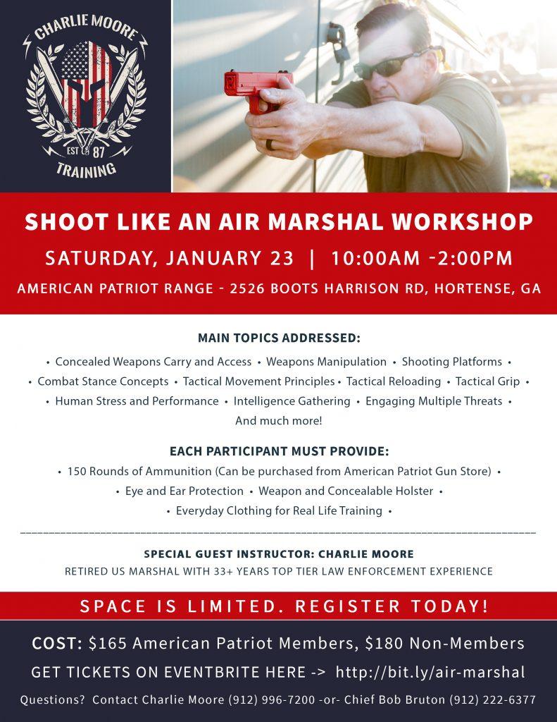 Shoot Like An Air Marshal - Hortense, GA flyer - Charlie Moore Training